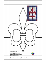 Stained Glass Patterns for FREE 023 french lily